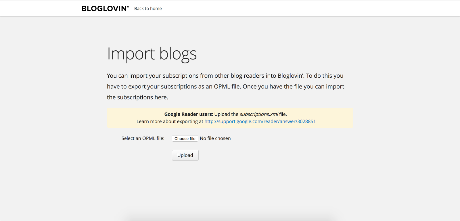 screenshot of the bloglovin' page to move your google reader subscriptions to bloglovin'