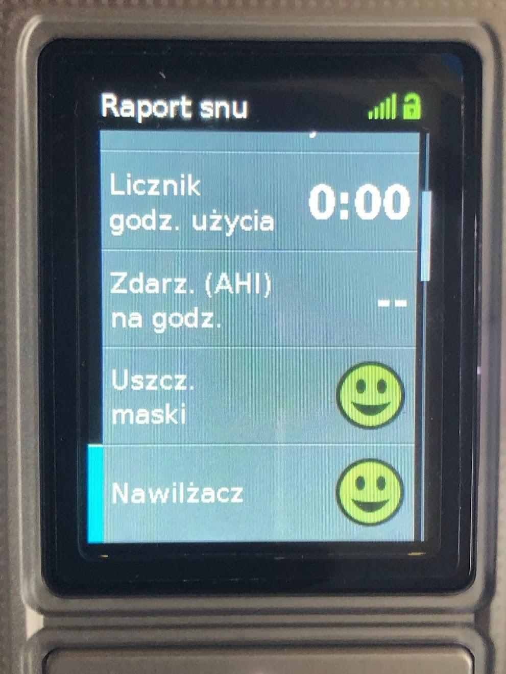 Raport snu w Resmed AirSense/ AirCurve
