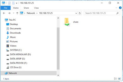 pengujian samba server dengan windows explorer