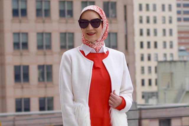 Valentine's Day Outfit Inspiration-Red blouse-Haute hijab scarf-red pants