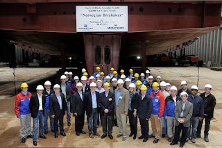 First block set in place as Norwegian's first Breakaway class ship begins to take shape