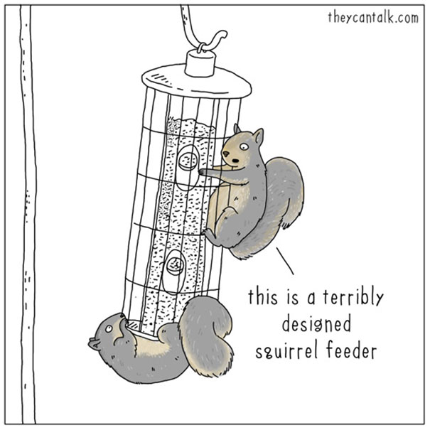 amusing squirrel feeder comic