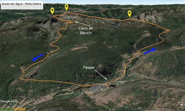 Map de la ruta al Pico Arcos del Agua y Peña Cefera pasando por los Llaos de Baucín y saliendo desde Fasgar.
