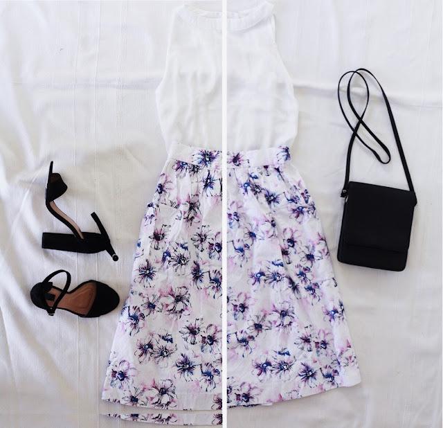 Stylizacja na ślub dla gościa - spódnica vintage w kwiaty, czarne dodatki - sandały na obcasie i vintage torebka.