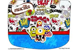 Etiqueta Nucita para Imprimir Gratis de Minions Super Héroes.