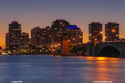 West Palm Beach and Roayl Palm Bridge skyline and Sunset Photography