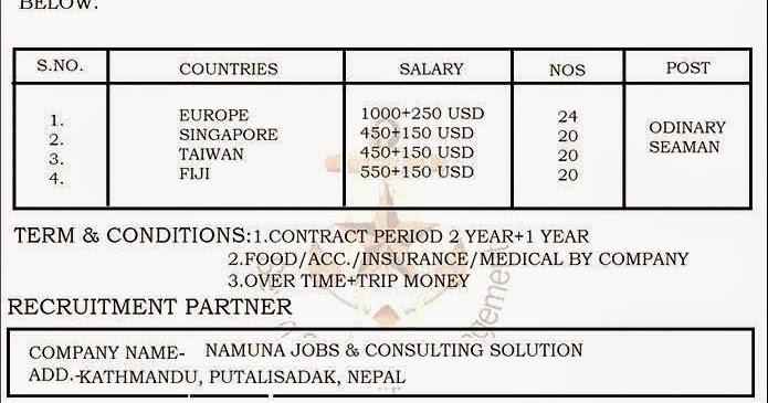Jobs for Nepali: Jobs Demand for Europe, Singapore, Taiwan