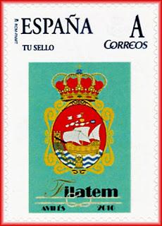 Sello personalizado emitido durante la FILATEM 2010 de Avilés con el escudo de la Villa