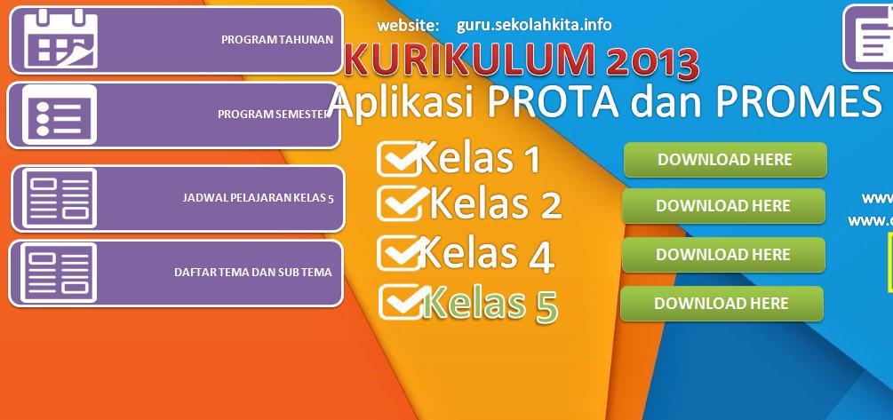 Aplikasi PROTA & PROMES Kelas 5 Otomatis dengan Excel (xls) Download Gratis