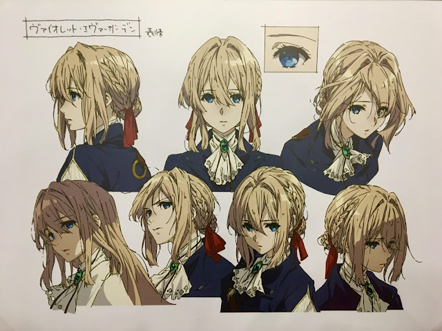 Violet Evergarden character sheet at a KyoAni exhibit