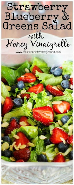 Strawberry, Blueberry, & Greens Salad with Honey Vinaigrette Dressing pin image