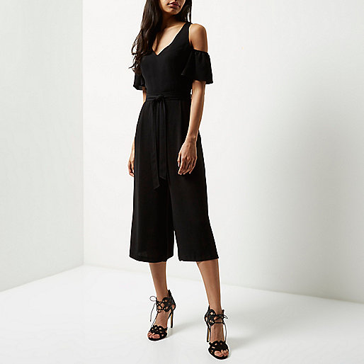 river island black shoulder jumpsuit, black open shoulder jumpsuit,
