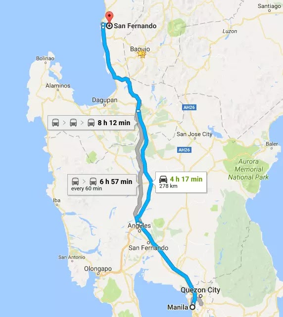Google Maps Manila NCR to San Fernando City, La Union Region I Philippines