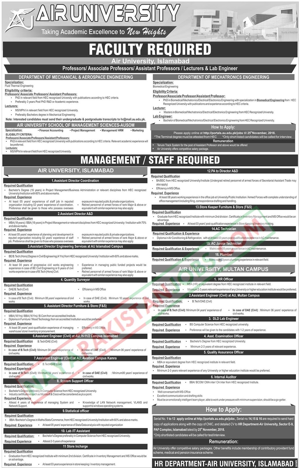 Latest Vacancies Announced in Air University Islamabad 12 November 2018 - Naya Pakistan