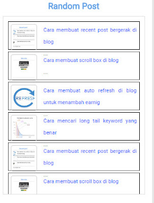 cara membuat random post bergerak di blog