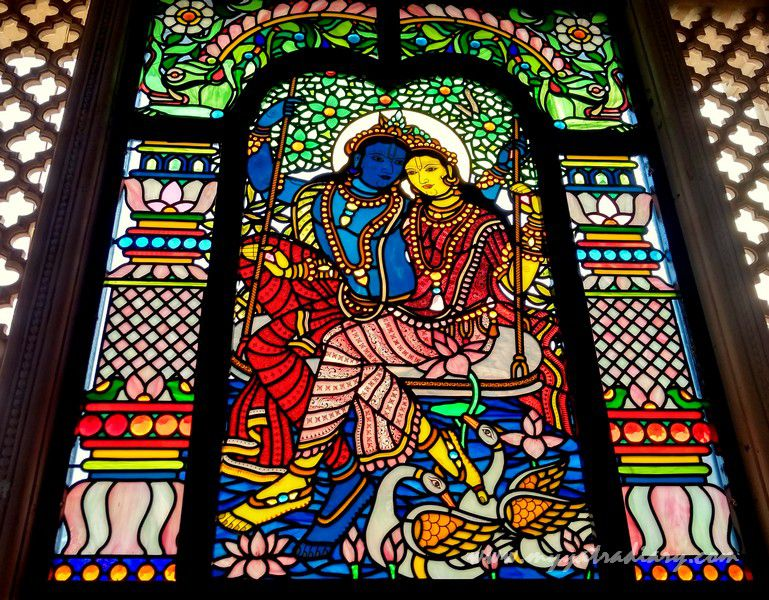 Radha Krishna love stained glass window vedic art gallery - ISKCON Jaipur, Rajasthan