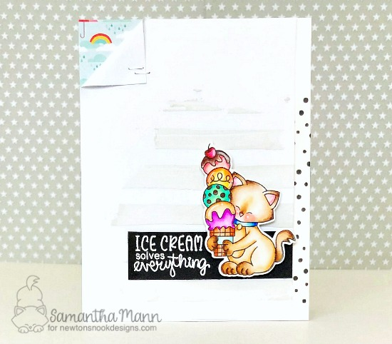 Cat and Ice Cream Card by Samantha Mann | Newton's Summer Treats Stamp Set by Newton's Nook Designs #newtonsnook #handmade