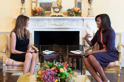 Michelle Obama and  Melania Trump at the White House's Oval Office.