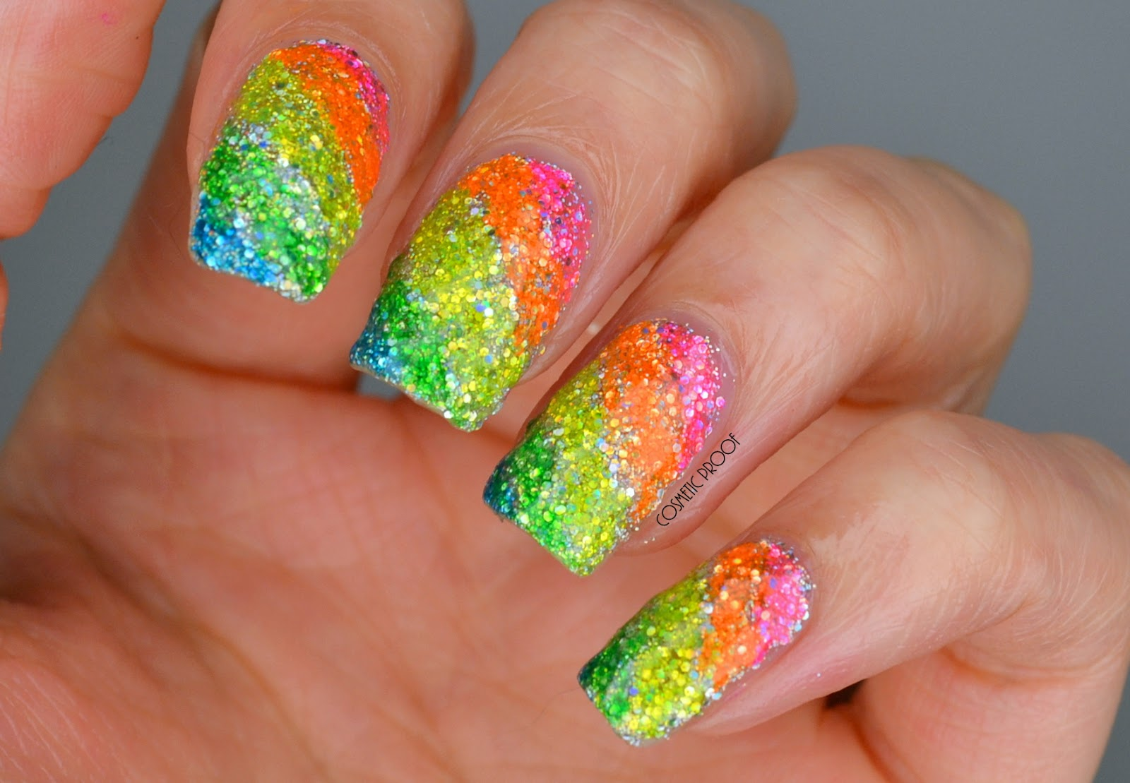 NAILS | Rainbow Glitter Highlighter Nails | Cosmetic Proof ...