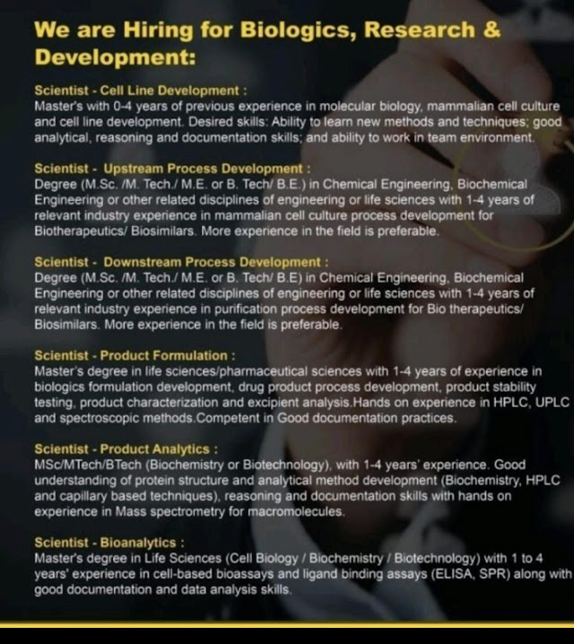 Dr.Reddy's - Urgent Hiring for Biologics, Research - Development