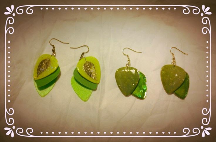 Green Leaf Guitar Pick Earrings