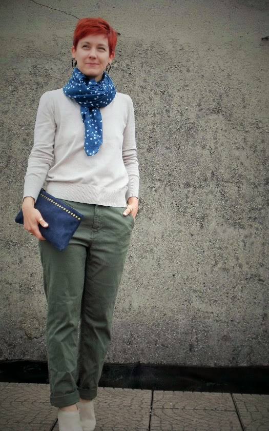 Khaki chinos, sand colored v-neck sweater, beige studded ankle boots, studded clutch, heart print scarf || Camouflage Colors - Relaxed in Khaki Pants; Funky Jungle, #fashion & personal #style blog