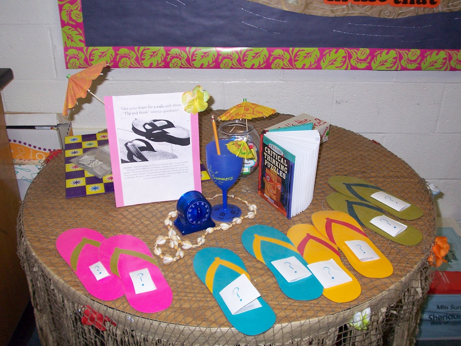 8f06d2c69 I was going through old classroom photos and found one of my favorite bulletin  boards! The flip flop challenge tasks were a hit with students.