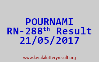 POURNAMI Lottery RN 288 Results 21-5-2017