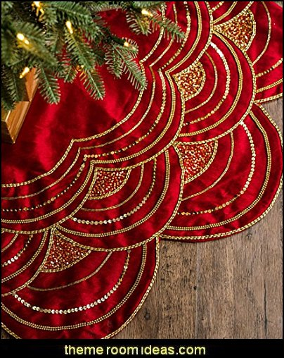 Beaded Tree Skirt - Cranberry Red Christmas decorating ideas - Christmas decor - Christmas decorations - Christmas kitchen decor - santa belly pillows - Santa Suit Duvet covers - Christmas bedding - Christmas pillows - Christmas  bedroom decor  - winter decorating ideas - winter wonderland decorating - Christmas Stockings Holiday decor Santa Claus - decorating for Christmas - 3d Christmas cards