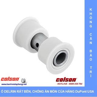 Bánh xe xoay 360 Nylon càng inox 304 Colson Mỹ 5 inch  2-5456-254 sử dụng ổ nhựa Delrin