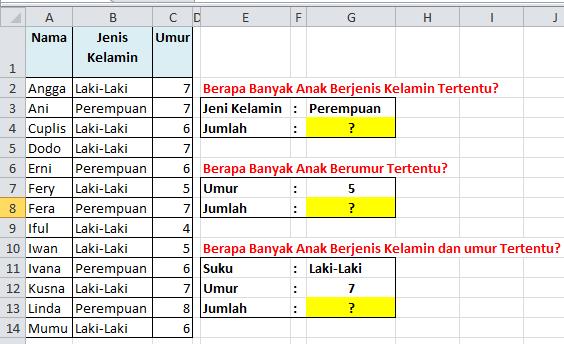 Contoh Soal Excel Menghitung Jumlah  Data Tertentu