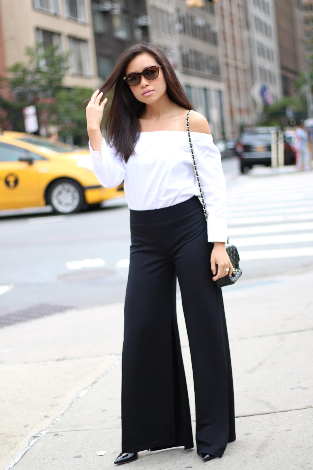 split pants off-the-shoulder top