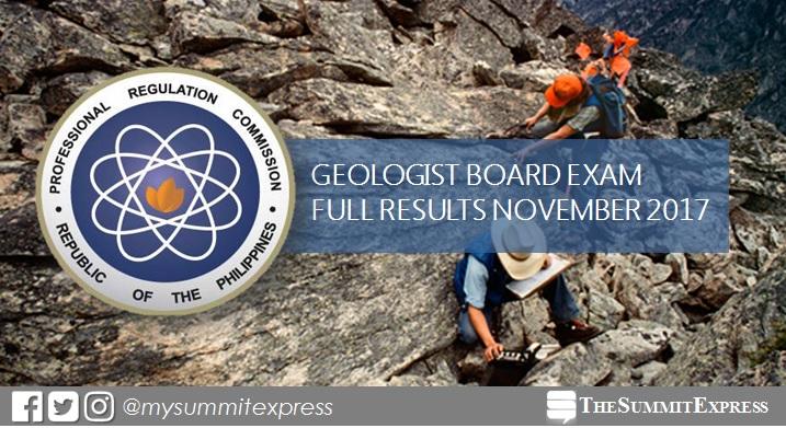 FULL RESULTS: November 2017 Geologist board exam passers list, top 10
