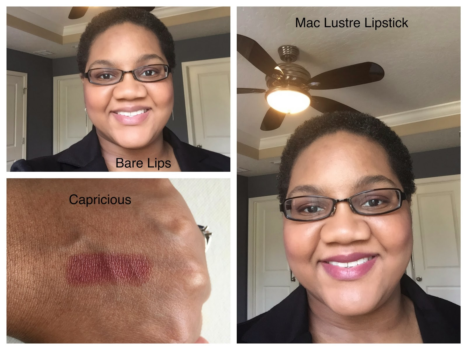 MAC Lustre Lipstick - Capricious on dark skin