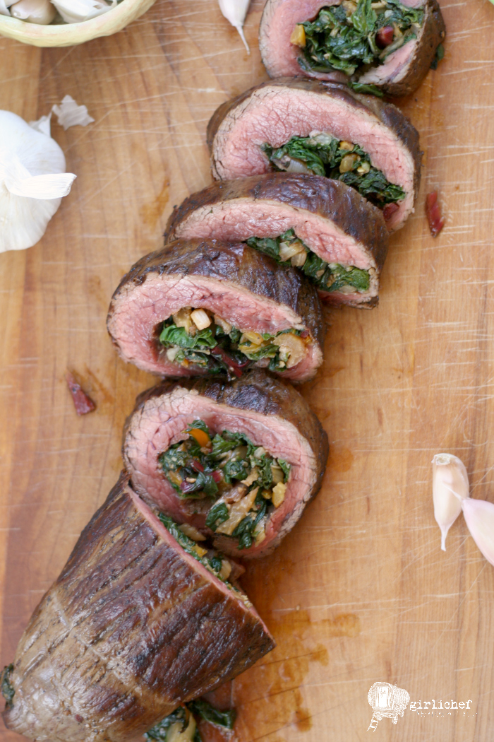 Garlicky Chard Stuffed Flank Steak
