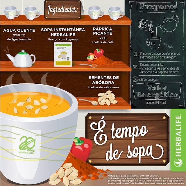 Sopa Herbalife Frango com Legumes, páprica e sementes de abóbora