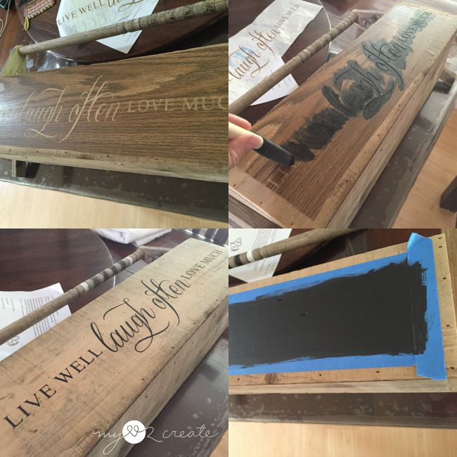 stenciling and adding chalkboard label to crate