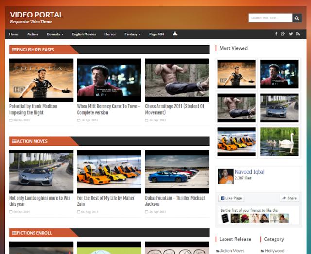 Video Portal Video Blogger Template