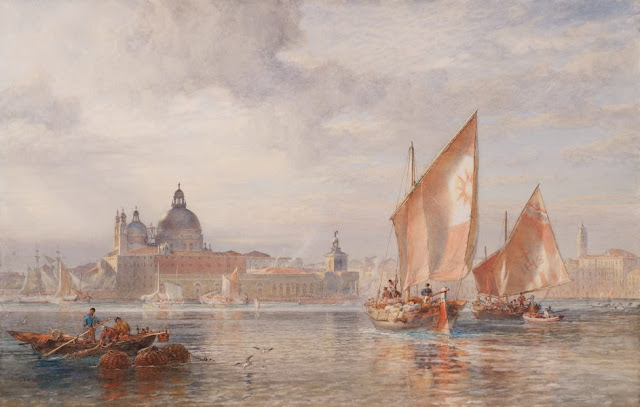 "Artwork, XIX century art, watercolours, ""Weather clearing after rain, Venice, fruit boats going to the Rialto"" by Sir Oswald Brierly, 1883."