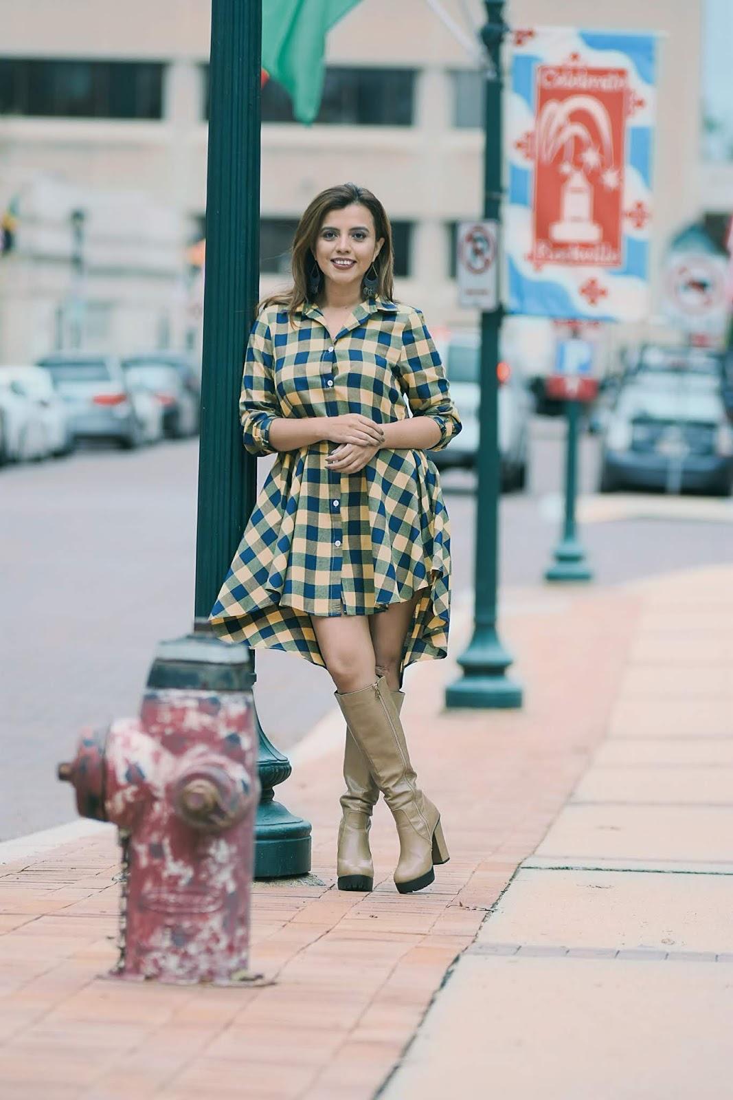 Vestido Camisero En Estampado Tartán-MariEstilo-SheIn-FashionBlogger-lookoftheday-fallfashion-dcblogger-marisolflamenco-