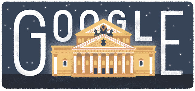 240th Anniversary of the Bolshoi Theater's Foundation - Google Doodle