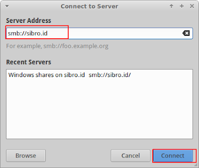 Lalu cek buka file manager nautilus dan masukkan alamat samba server ( smb://sibro.id )