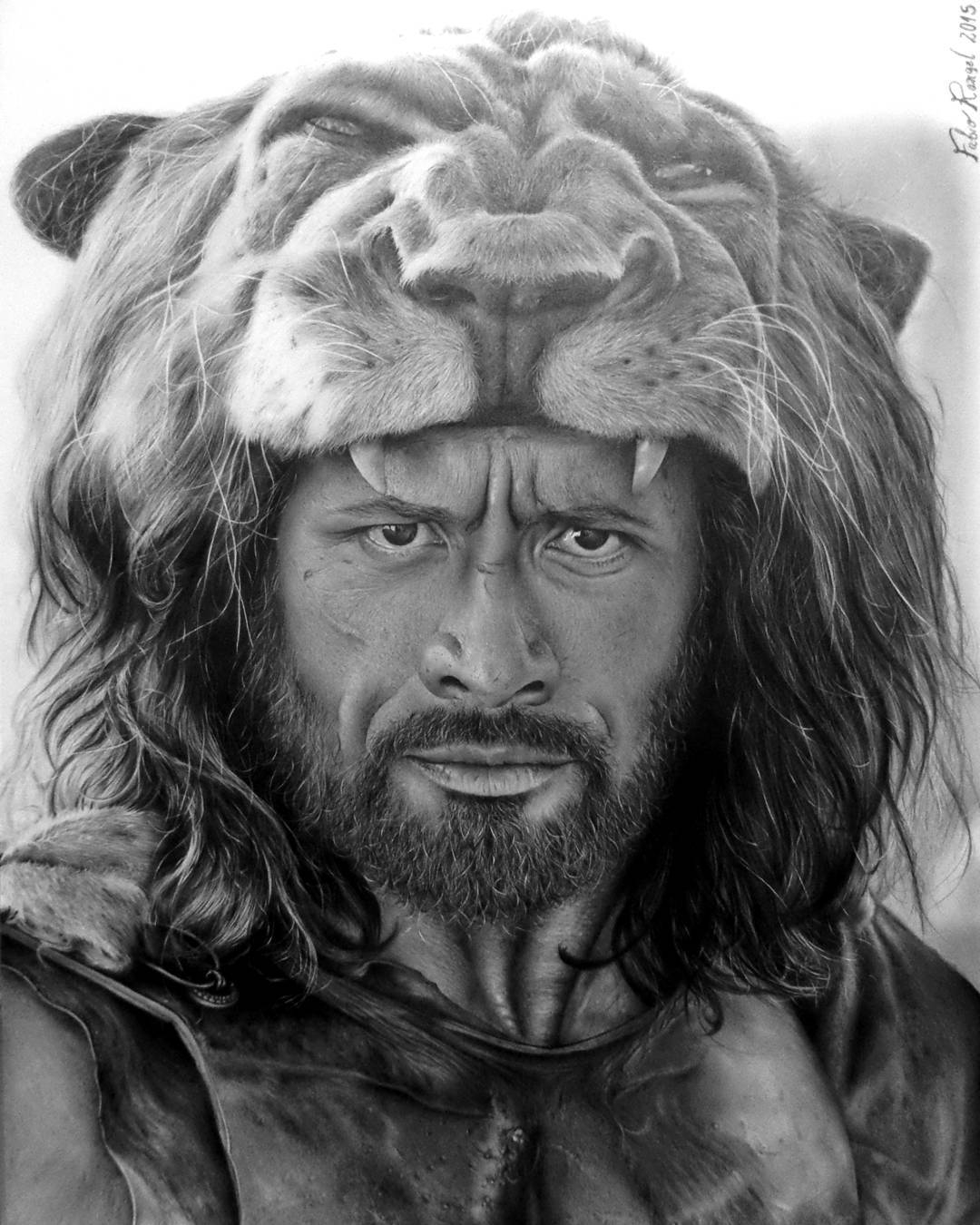 13-Hercules-Dwayne-Johnson-The-Rock-Fabio-Rangel-Drawings-of-Protagonists-from-TV-and-Movies-www-designstack-co