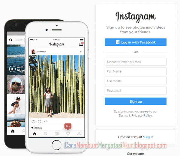 sign up instagram web