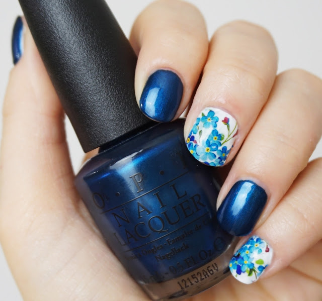 Vergissmeinnicht - Water Decals OPI - Unfor-Greta-Bly Blue forget-me-not flower nail art blaue blumen