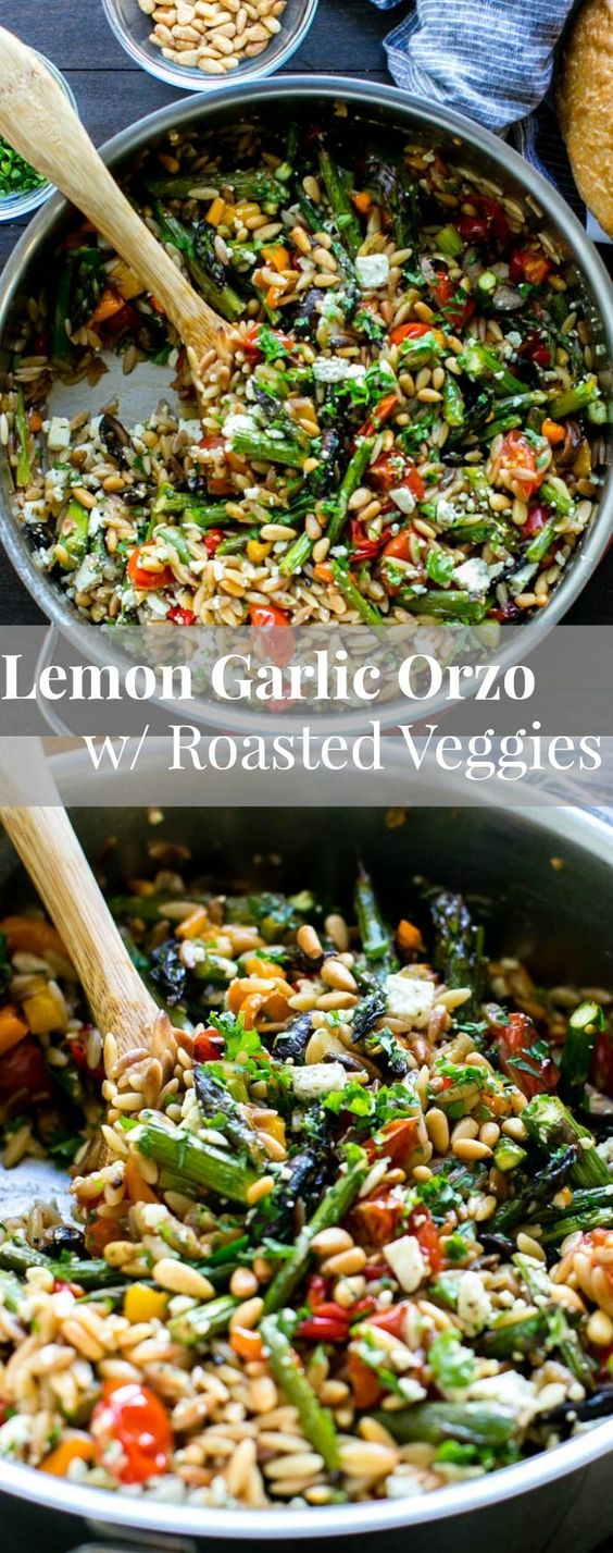 LEMON GARLIC ORZO WITH ROASTED VEGETABLES #lemon #garlic #orzo #roasted #vegetables #vegetarian #vegetarianrecipes #veggies #vegan #veganrecipes