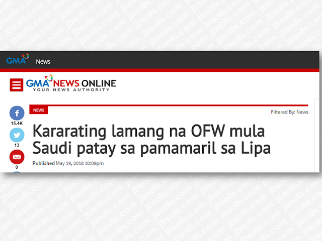An Overseas Filipino Worker (OFW) who came home for a vacation from Saudi Arabia was killed just hours after his arrival in the Philippines by an unidentified gunman.  Advertisement    An Overseas Filipino Worker (OFW) who came home for a vacation from Saudi Arabia was killed just hours after his arrival in the Philippines by an unidentified gunman.  Advertisement        Sponsored Links   Danilo Henson, 57, has just arrived for his supposed to be a happy vacation after years of working in Saudi Arabia when a tragic incident happened. He was shot and killed in front of his own home  at Barangay Pingkawitan, Lipa City, Batangas Saturday night after his arrival from the airport.  According to the report on Super Radyo DZBB, he was rushed to NL Villa Memorial Medical center but he was declared dead on arrival due to two gunshot wounds in his head.  The shooting incident happened at around 8:20 PM according to the report.  Investigation by the Lipa police authorities is ongoing for the arrest of the suspect.  READ MORE: Signs That You And Your Partner Have An Unhealthy Communication  It's More Deadly In The Philippines? Tourism Ad In New York, Vandalized    Earn While Helping Your Friends Get Their Loan      List of Philippine Embassies And Consulates Around The World    Deployment Ban In Kuwait To Be Lifted Only If OFWs Are 100% Protected —Cayetano    Why OFWs From Kuwait Afraid Of Coming Home?   How to Avail Auto, Salary And Home Loan From Union Bank     Sponsored Links   Danilo Henson, 57, has just arrived for his supposed to be a happy vacation after years of working in Saudi Arabia when a tragic incident happened. He was shot and killed in front of his own home  at Barangay Pingkawitan, Lipa City, Batangas Saturday night after his arrival from the airport.  According to the report on Super Radyo DZBB, he was rushed to NL Villa Memorial Medical center but he was declared dead on arrival due to two gunshot wounds in his head.  The shooting incident happened at around 8:20 PM according to the report.  An investigation by the Lipa police authorities is ongoing for the arrest of the suspect.    READ MORE: Signs That You And Your Partner Have An Unhealthy Communication    It's More Deadly In The Philippines? Tourism Ad In New York, Vandalized    Earn While Helping Your Friends Get Their Loan      List of Philippine Embassies And Consulates Around The World    Deployment Ban In Kuwait To Be Lifted Only If OFWs Are 100% Protected —Cayetano    Why OFWs From Kuwait Afraid Of Coming Home?   How to Avail Auto, Salary And Home Loan From Union Bank