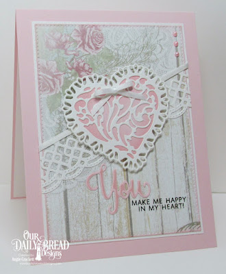 ODBD You Bless Me So Stamp/Die Duos, ODBD Custom Tulip Heart Die, ODBD Custom Layering Hearts Dies, ODBD Custom Beautiful Borders Dies, ODBD Custom Pierced Rectangles Dies, ODBD Shabby Rose Paper Collection, Card Designer Angie Crockett