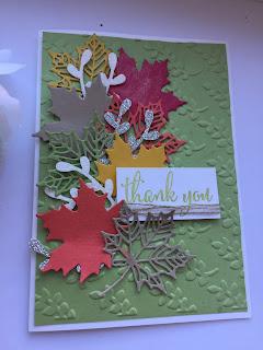 Seasonal Layers, leaf die cuts. Thank you card. Sprig Punch