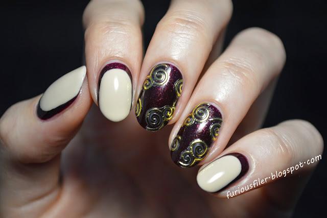 nail stickers ruffian maroon glitter bornprettystore